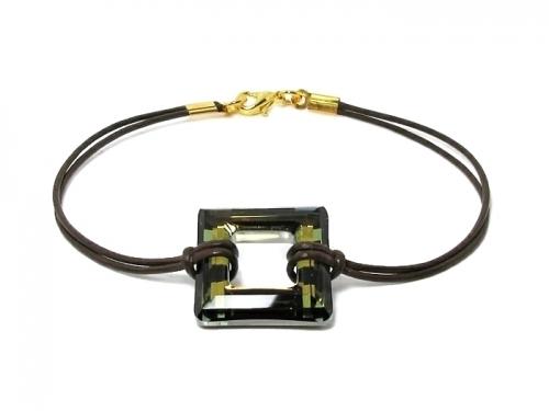 Large Square Swarovski Crystal  Leather Bracelet