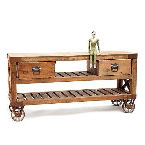 Industrial Steel & Mango Wood Console Table on Wheels