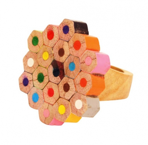 Eco Wooden Finger Ring made from Recycled Crayon Pieces