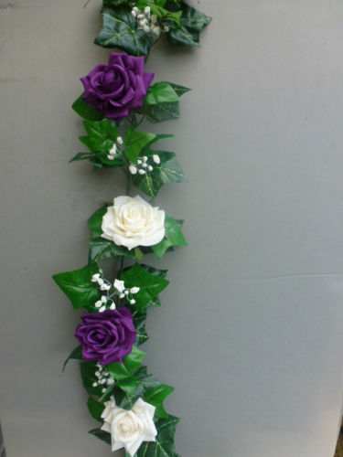 Garland with artificial ivory & cadbury purple roses