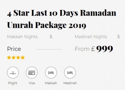 4 Star Last 10 Days Ramadan Umrah Package