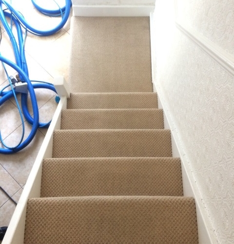 Beige Staircase Carpet After Professional Cleaning
