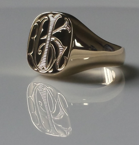 Shadded Monogram on gold cushion signet ring