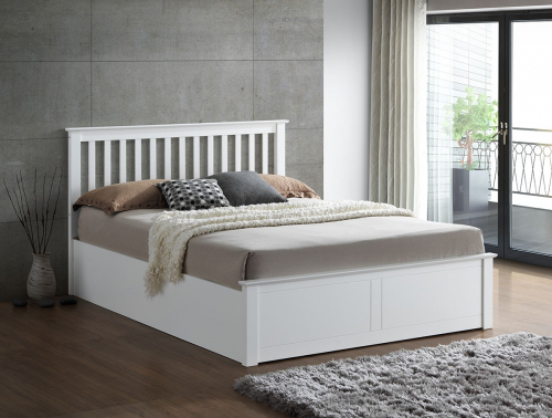 Love Sleep Wooden Ottoman Bed in White