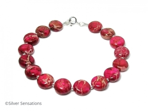 Ladies Cerise Pink Sea Sediment Jasper Limited Edition Bracelet