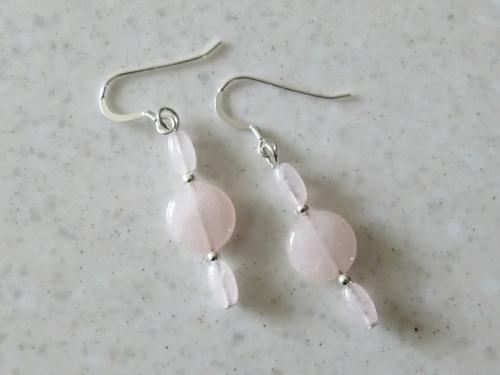 Pink Rose Quartz Beads Heart Chakra Earrings