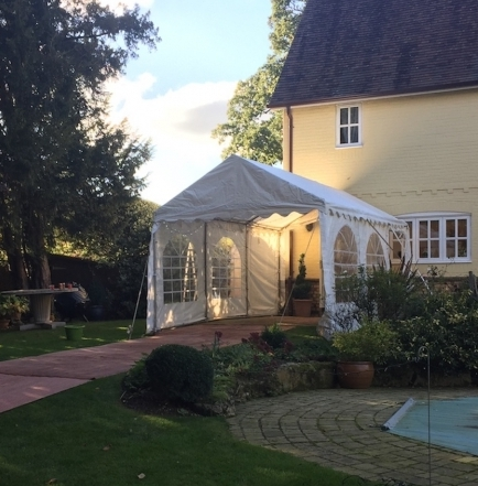 3m x 6m dance marquee attached to the house