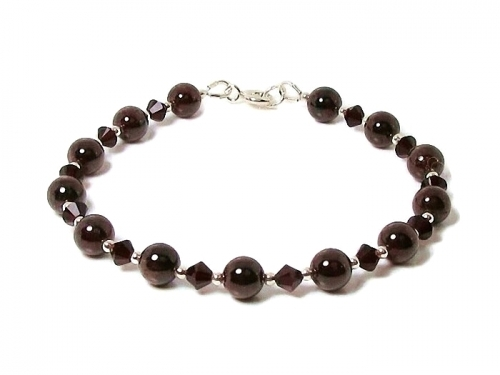 Burgundy Red Garnet & Swarovski Crystal Bracelet
