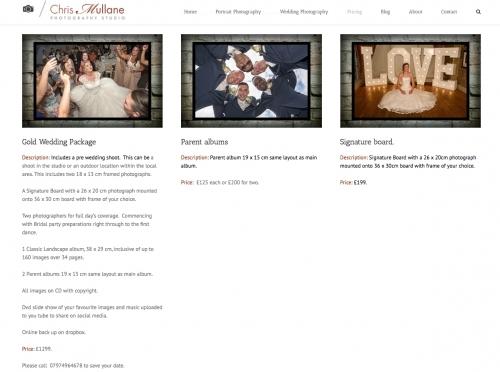 Chris Mullane Wedding pricing