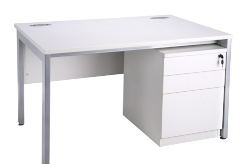 BENCH DESK WITH PEDESTAL (AVAILABLE IN : COLOUR WHITE AND OAK WITH SILVER OR WHITE LEGS . SIZE 1200,1400 AND 1600