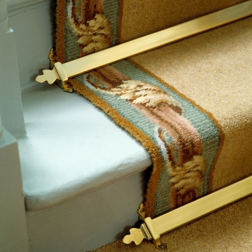 Royale Beaumont stair rods in polished brass from Carpetrunners.co.uk