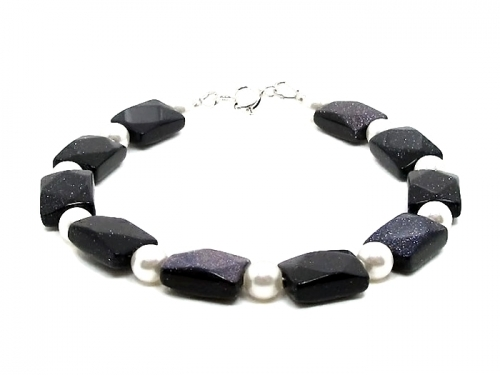 Sparkly Blue Goldstone White Pearl Bracelet