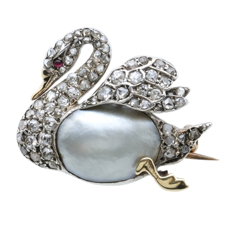 Antique Pearl and Diamond Swan Brooch