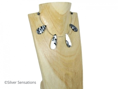 Black White Zebra Jasper Necklace With Sterling Silver Curved Tubes