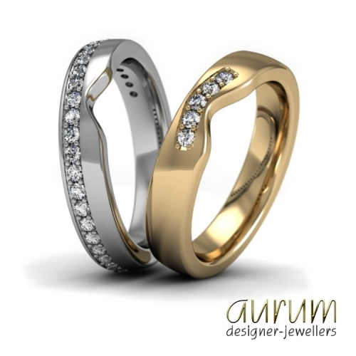 Fitted Wedding rings with diamonds