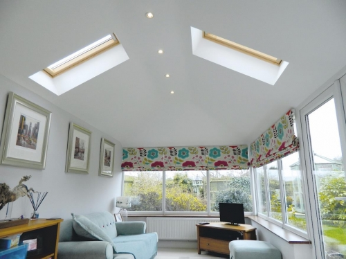 Interior after a polycarbonate roof has been replaced with a Supalite one