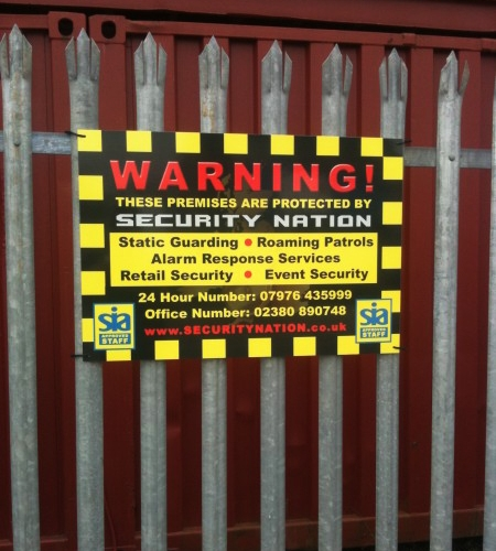 Construction site security banner.