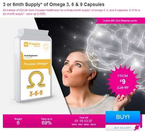 3 or 6mth Supply Of Omega 3,6 & 9 capsules.