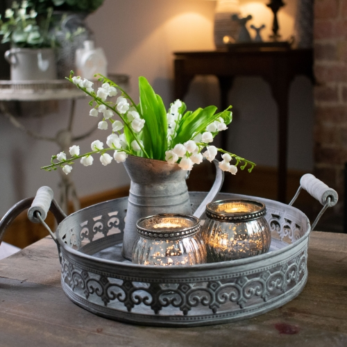 Large Round Zinc Tray with Patterned Edge