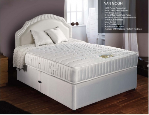 Van Gough memory pocket 4 drawer divan set 6'