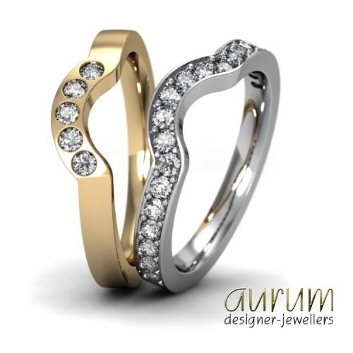 Shaped wedding rings with diamonds