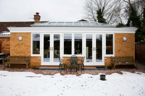 Oak orangery with external white painted finish in Hampshire