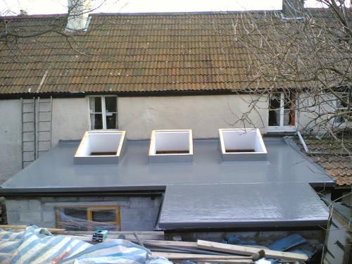 3 x velux windows in Fibreglass Flat Roof.