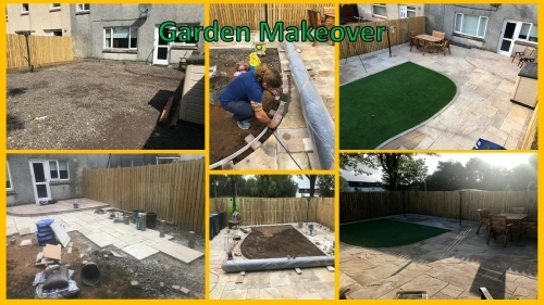 Garden Makeover including sandstone paving with curved step, monoblock edging, artificial turf and decorative chips border