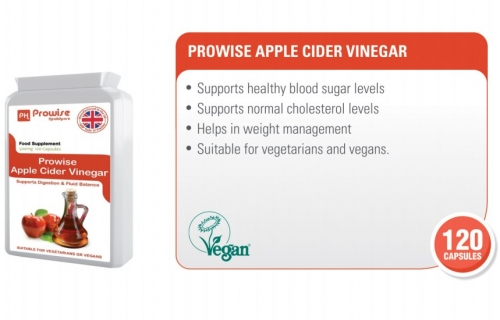 Prowise Apple Cider Vinegar 500mg 120 Capsules - UK Made GMP Guaranteed Quality