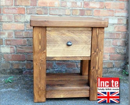 Plank 1 Drawer Bedside With Shelf handmade by Incite Interiors in Derbyshire