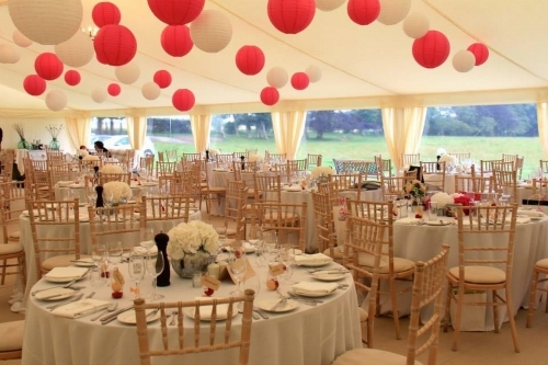 Wedding marquee with flat interior linings