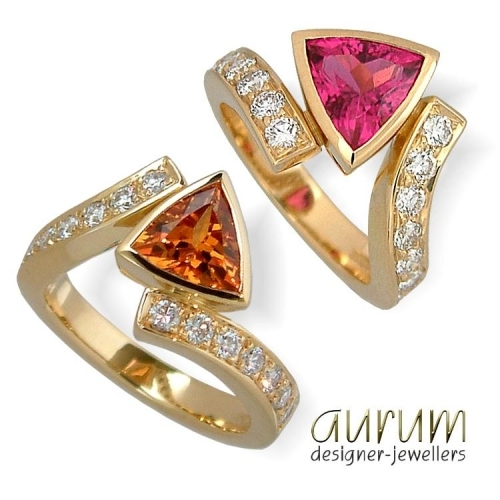 Dress Ring s in 18ct gold  with coloured gemstones and diamonds