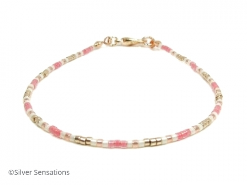 Dainty Pink White Skinny Boho Friendship Bracelet