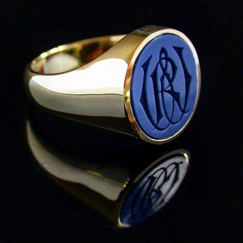 Blue Sardonyx Gemstone signet ring with hand engraved monogram
