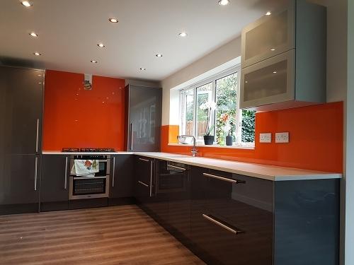 Stunning Orange Glass Splashback