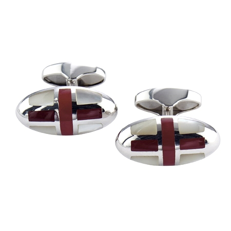 Mother of Pearl and Cornelian Cufflinks depicting Cross of St George