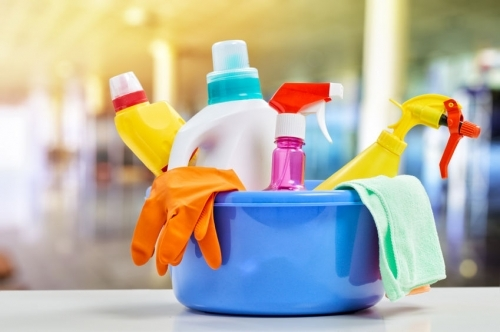 Cleaning Chemicals In Bucket