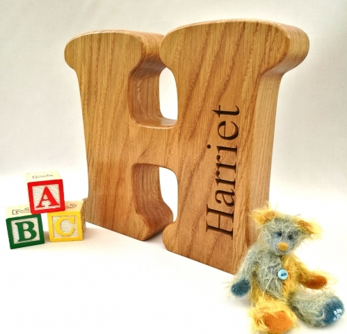 Wooden Letters. Freestanding. Oak. Perfect gift for new baby.
