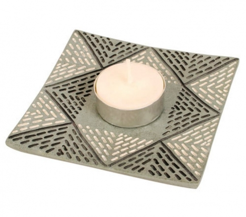 Grey Palewa Stone Tealight Holder / Candle Plate