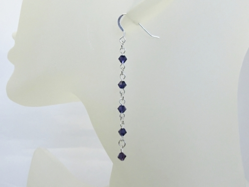 Purple Crystals Bridesmaids Earrings With Swarovski Crystals