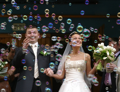 Bride and Groom with the bubble machine