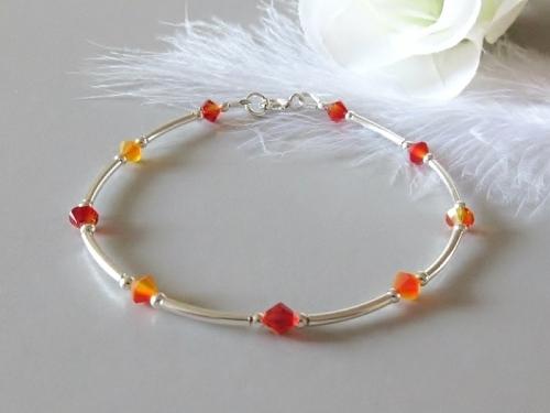 Bespoke Orange Crystal Bracelet With Swarovski Crystals