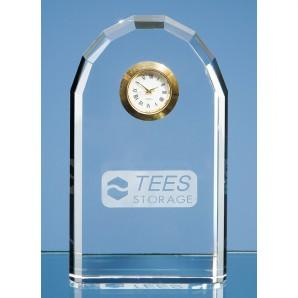 Engraved Crystal Arch Glass Clock - ideal for a personalised gift or employee recognition award.