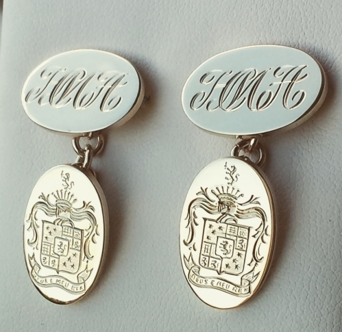 solid gold cufflinks hand engraved with family coat of arms and monogram