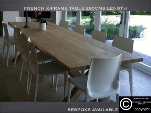 Bespoke kitchen dining tables, French x frame - www.bespokefurnituremakers.company