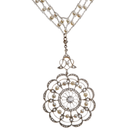 Antique Pearl and Diamond Pendant from the Belle Epoch period