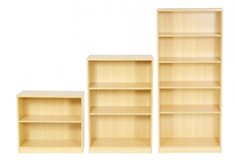 Bookcases . AVAILABLE IN BEECH AND OAK. SIZE : 730,1200 AND 1800 X 800 wide X 360 deep