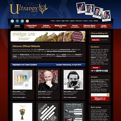 Ultravox - branding, CD design, programme and T-shirt design, print, website design and build