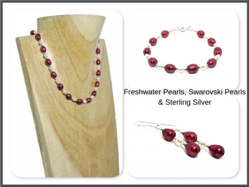 Freshwater Pearls Swarovski Pearls Sterling Silver Necklace Set