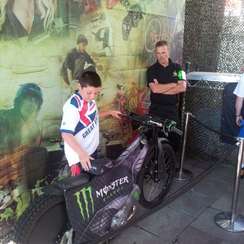 Monster Energy Drink promo bike with Security Nation guard.